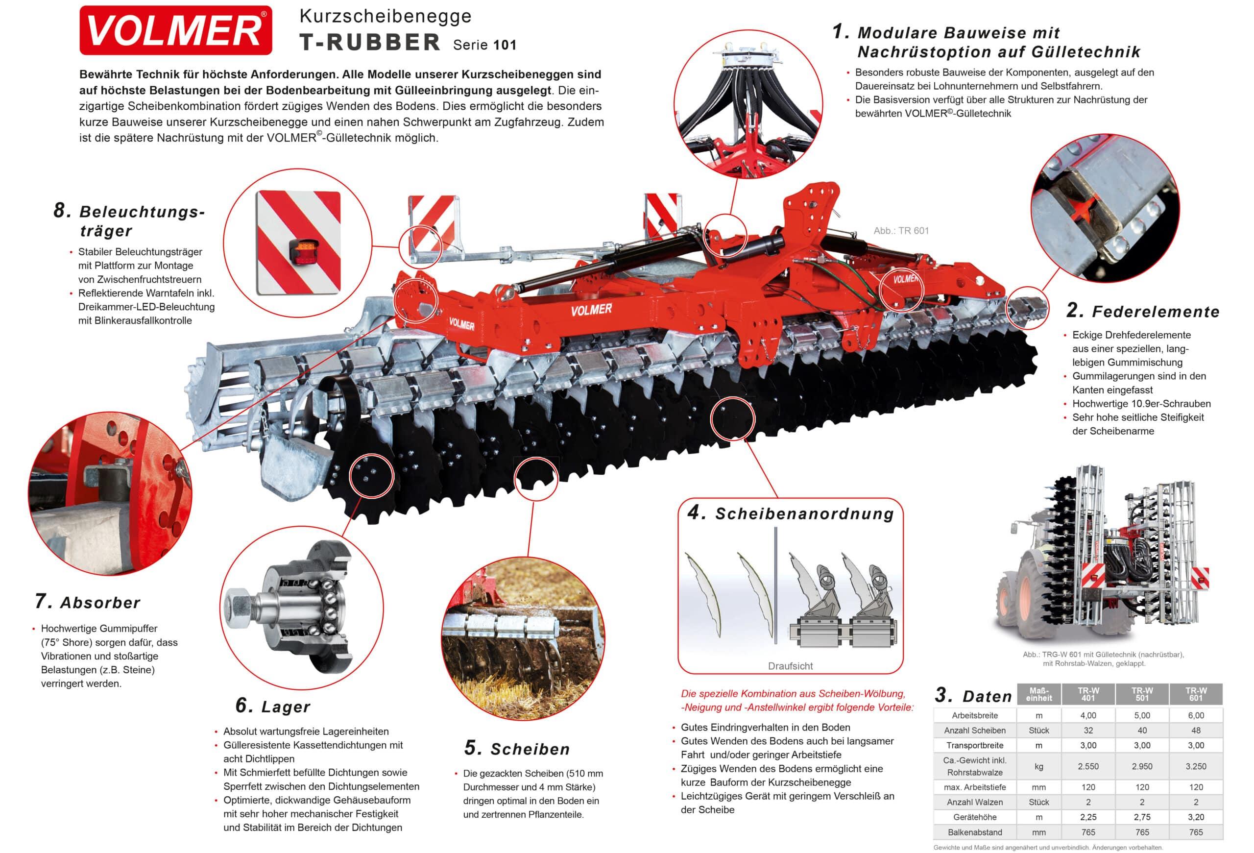 VOLMER TRUBBER Kurzscheibenegge 101 ohne Gülletechnik